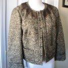 TALBOTS WOMEN'S BEIGE BROWN 3/4 Sleeve Wool Alpaca Tweed Jacket SIZE 8 NEW