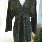BCBG MAXAZRIA WOMEN'S SHIMMER BLACK 3/4 SLEEVE V-NECK TUNIC DRESS SIZE XS