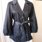 WILLI SMITH WOMEN'S BLUE DENIM 3/4 SLEEVE BELTED TRENCH COAT JACKET SIZE M 8