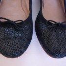 BLOCH Women's Black Snake Print Leather Ballet Flats Size 37.5 (Retail $248) NEW