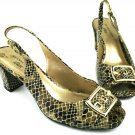 ANNE KLEIN iflex Women's Snake Print Leather OPEN TOE Heel Shoes Size 8.5M