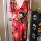 MAX & CLEO WOMEN'S CORAL PRINT V NECK RUSHED WAIST KNIT DRESS SIZE XL NEW