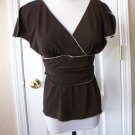 STUDIO M WOMEN'S BROWN CAP SLEEVE V NECK RUCHED WAIST SHIRT BLOUSE TOP SIZE PM