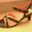 JOAN & DAVID BEIGE BROWN PATENT LEATHER STRAPPY SANDALS HEELS SHOES SIZE 8M