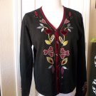J. Jill WOMEN'S Black Red Embroider Hearts Button Front Cardigan SWEATER SIZE S