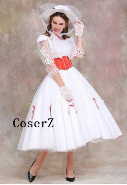 Mary Poppins Costume with Red Satin Corset dress