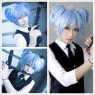 Short Ice Blue Pigtails Cosplay Wig, Shiota Nagisa Anime Wig