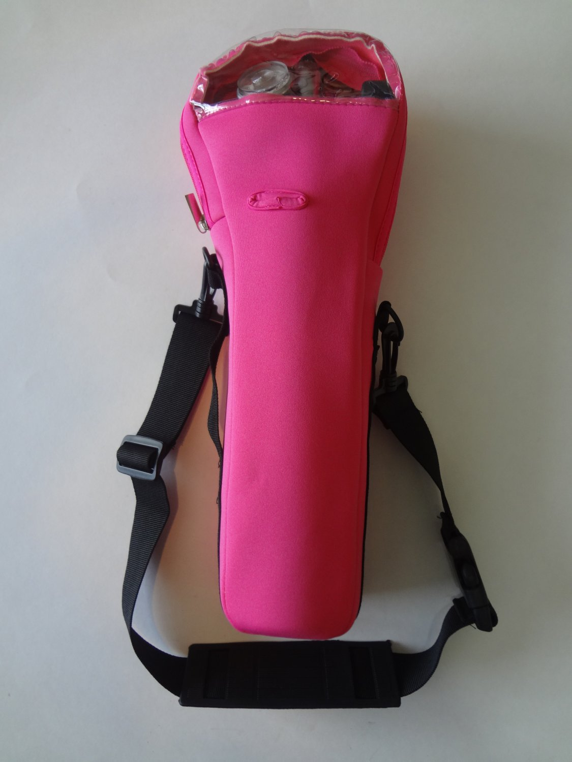 Pink oxygen cylinder carrier for B or M-6 cylinders