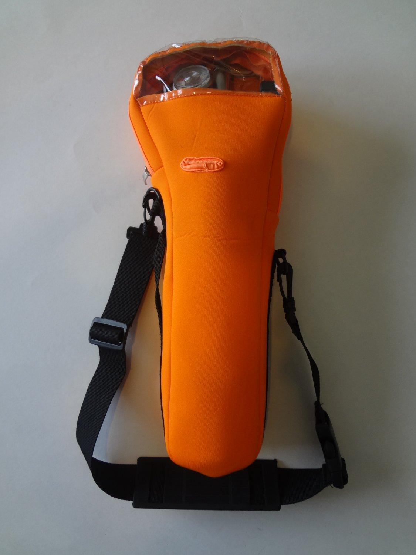 Orange oxygen cylinder carrier for B or M-6 cylinders