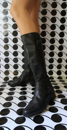 """Markon""Boots Black Leather Side Zip,Stretch Back Hi Mid Calf, Size US 8.5"