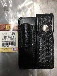 Triple K Maglite Minimag Light & Knife Holder Black Basketweave Leather US Made