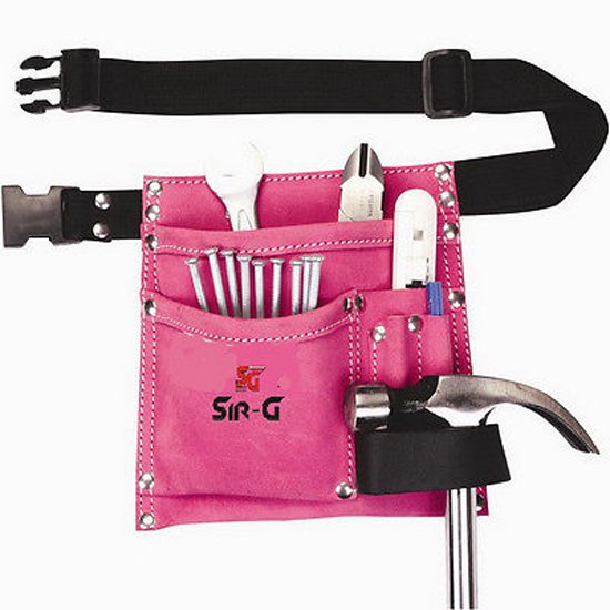5 Pocket Suede Leather Pink Tool Bag Pouch Belt