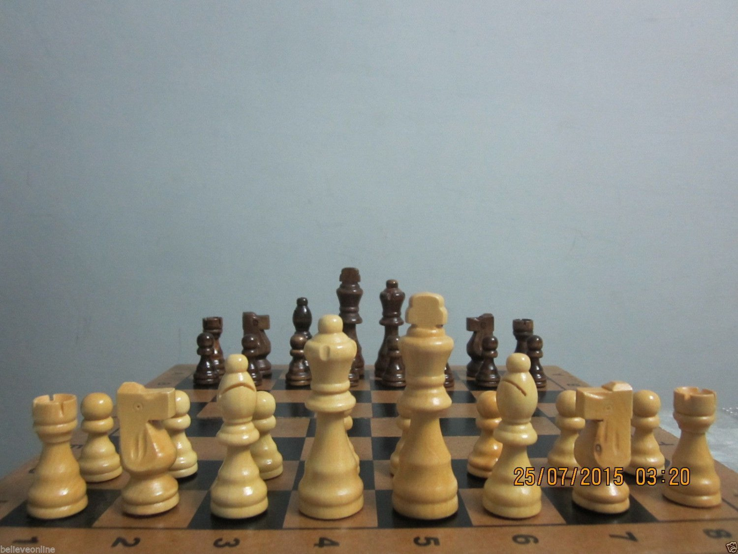 "Brand New Set of Wooden Chessmen Chess Pieces - 3.5"" King Size"
