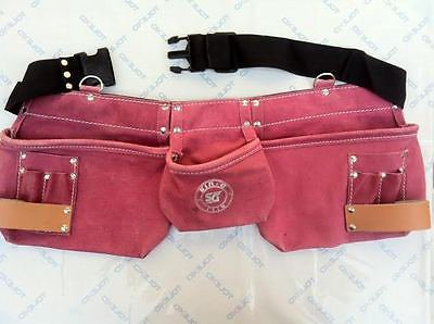 9,Pocket Suede Leather Women pink bag belt pouch