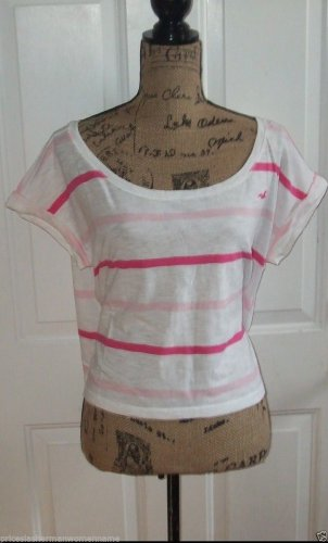 cute Hollister harbor T shirt top pink white stripe roll short sleeve new size L