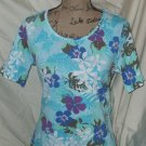 NEW floral print cotton t shirt blouse top WHITE STAG M 8-10 ARMPIT TO ARMPIT 21