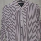 Men dress shirt American Eagle vintage fit L burgundy stripe top Dri clean press
