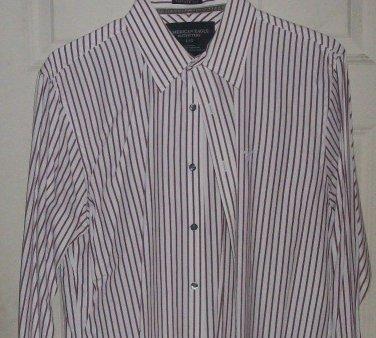 Men dress shirt American Eagle vintage fit L burgundy stripe top Dri clean press