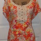 New $49 LANE BRYANT LACE Crochet henley blouse open shoulder size 16 shirt top