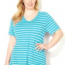 NWT tee blouse AVENUE aqua stripe 3X short sleeve cotton V pocket top shirt