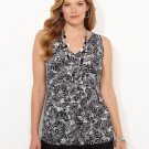 NEW Palm Persona tank blouse CATHERINES 2X black white tropical top