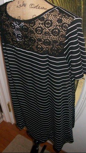 lace back Avenue womens black stripe Hi Lo Tee top shirt blouse 2X 3X plus new