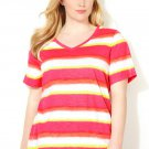 NWT tye dye stripe blouse AVENUE dark pink 4X cotton tee V neck top shirt