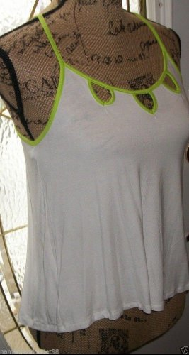 "New cami blouse BOZZOLO women white green small rayon top 18""armpit to armpit"