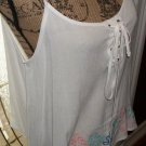 New embroidered cami tank blouse Mine womens clothing large tie front top hi lo