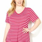 NWT tee blouse AVENUE raspberry stripe 3X short sleeve cotton V pocket top shirt