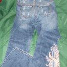 "girls Juniors Women S.O. EMBROIDERED Destructed cotton Jeans SIZE 3 WAIST 30"""