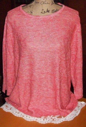 New $59 LACE mesh trim sweater blouse cool melon 2X 3X knit ribbed top