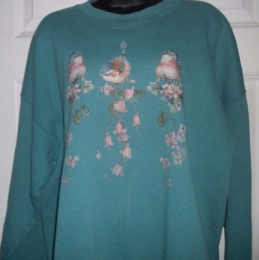 Birds & Flowers Teal sweater long sleeve HANES ACTIVE XXL crew neck top spots