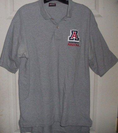 TOPS BLOUSE PLUS Polo Mens Univ ARIZONA L gray rib collar short sleeve shirt top