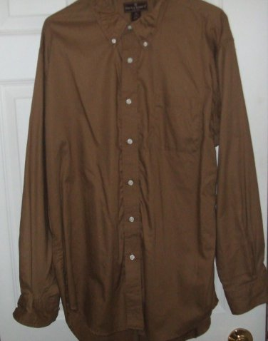 $40 Genuine Steve & Barrys mens button shirt long sleeve XL medium khaki brown