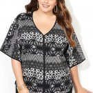 New $60 black white Aztec AVENUE multi print knit tee blouse 3X plus top