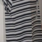 New women FALLS CREEK black mesh knit stripe tee blouse size 12/14 M-L shirt top