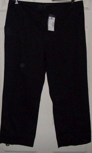 NEW $29 GEORGE ME black capri shorts by Mark Eisen slit leg cotton spx size 10