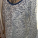 New $59 knit sweater blouse NINE WEST Vintage America coll. size XXL navy wh top