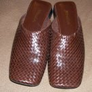 "Weave dress shoes ST JOHNS BAY Brown size 7 1/2 M slip ons no back 1"" heel"
