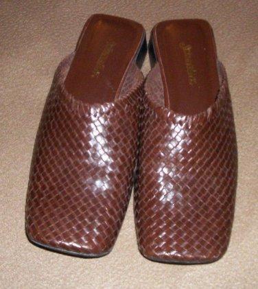 "Weave dress shoes ST JOHNS BAY Brown size 7 1/2 M slip ons no back 1"" heel"