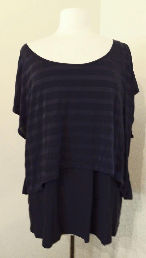 New layered tank blouse Hi Lo stripe LANE BRYANT sheer tee top shirt Blk 1X plus