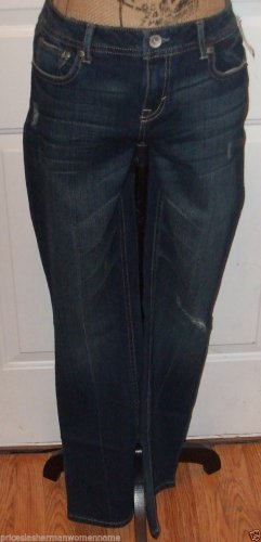 NEW $49 Destroyed dark JEANS AEROPOSTALE size 8 CHELSEA Sbootcut low rise