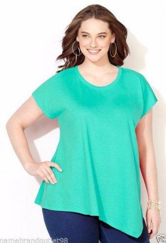 NWT asymmetrical tee blouse AVENUE crystal teal 3X dolman crewneck top shirt
