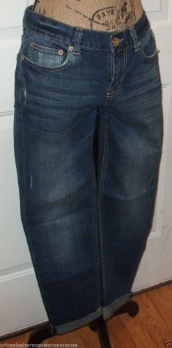 NWT $49 Destroyed JEANS AEROPOSTALE KYLIE BOYFRIEND size 4 Lo hip relax fit dark