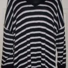 FALLS CREEK mesh knit blouse 22 plus black white tan stripe top