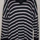 FALLS CREEK mesh knit blouse 22 plus black white tan stripe top