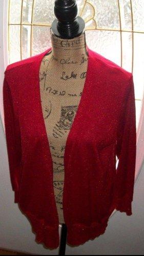 New $59 rose metalic WILLI SMITH rib knit cardigan blouse plus 1X sweater top