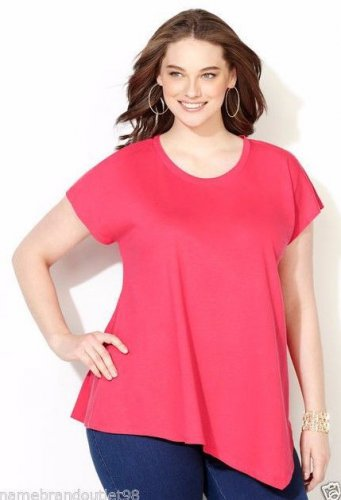 NWT asymmetrical tee blouse AVENUE peach 3X cotton dolman crewneck top shirt