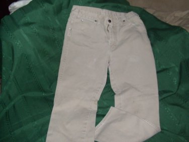 DICKIE JEANS cotton khaki straight leg size 10 work used 29 inseam bottom